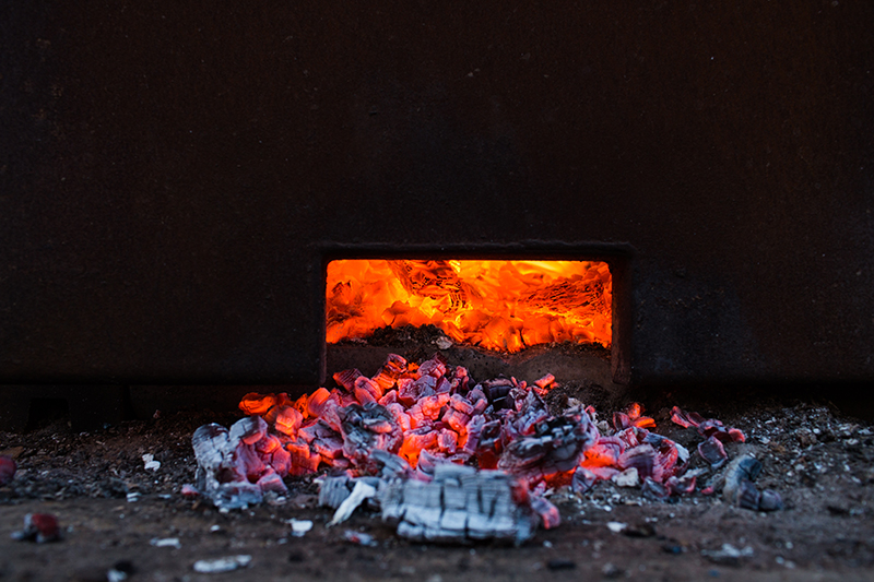 Glowing embers of the woodfired kiln