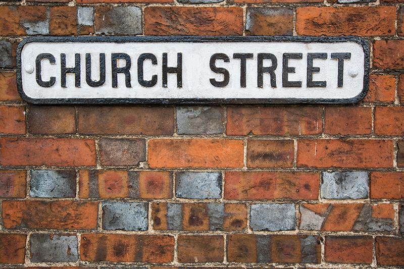 Woodfired bricks in a wall on Church Street