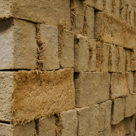 Sideways angle of stacked strockette blocks