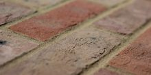 Multi handmade brick shot along the brick to show texture