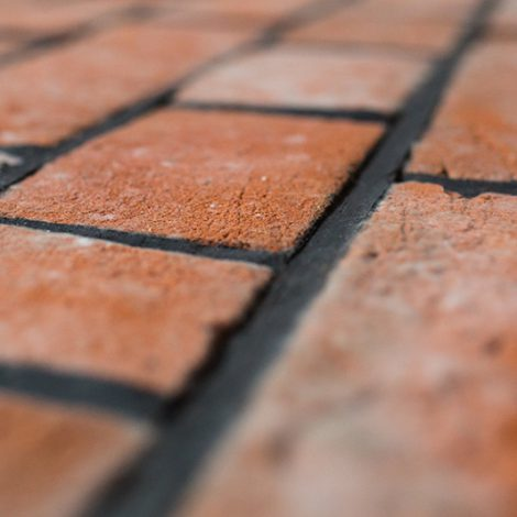 Victorian style woodfired brickwork with weather struck and cut joint - side view