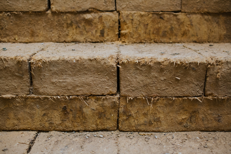 How we've used earth blocks as new build systems at the yard, they've become stairs to the office